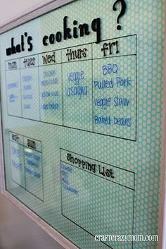 What an affordable way to organize! I love the fact that it is so open to variety (i.e. fun fabric backing). I wish I had better handwriting...
