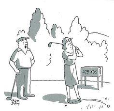 """Well, that cuts it to 423.""  from July 28, 1956    Our classic cartoons this week are all about #golf."