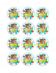Scooby-Doo Cupcake Topper Mystery Machine Cupcake Toppers Bolo Scooby Doo, Slumber Parties, Birthday Parties, Picture Frame Projects, Birthday Tags, 8th Birthday, Bday Girl, Printable Stickers, Paper Beads