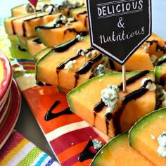 This Melon Blue Cheese Appetizer is the perfect summer salad or appetizer to serve or bring to a party!