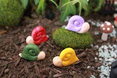 Polymer Clay Snail - Miniature Snail - Mini Clay Snail - Fairy Garden Accessory - Terrarium Accessory – Snail Sculpture – Garden Decoration by GnomeWoods on Etsy https://www.etsy.com/listing/199058281/polymer-clay-snail-miniature-snail-mini