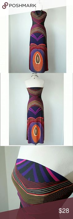 GEOMETRIC COLORFUL MAXI DRESS, NWOT, SIZE MEDIUM NEOT, Tags were removed by seller when dress was tried on, black background, warm colors, overall geometric print, insanely SLIMMING, CHEST FULLY LINED, size medium XXI Dresses Strapless