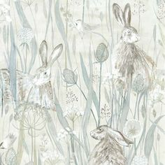 Dune Hares Wallpaper in Mist Grey & Pebble Blue | Sanderson Embleton Bay Collection | Matching Fabric & Wallpaper at F&P Interiors Luxury Wallpaper, Fashion Wallpaper, Print Wallpaper, Fabric Wallpaper, Wallpaper Roll, Designer Wallpaper, Wallpaper Designs, Baby Girl Wallpaper, Scenic Wallpaper