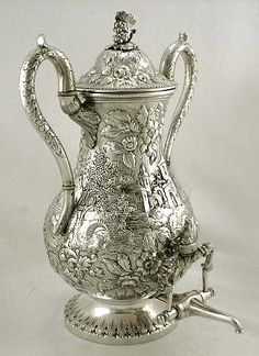 S Kirk & Son coin silver 'Castle' pattern tea urn, Baltimore ~ 1850
