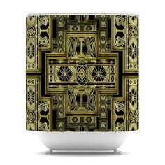 """http://kessinhouse.com/cart #gatsby #artdeco #golden #black #gold #art  Finally waterproof artwork for the bathroom, otherwise known as our limited edition Nika Martinez """"Golden Art Deco"""" shower curtain. This Nika Martinez """"Golden Art Deco"""" is so artistic and inventive, you'd better get used to dropping the soap! With this Nika Martinez """"Golden Art Deco"""" you're sure to impress your guests with your bathroom gallery in addition to your lovable shower singing."""