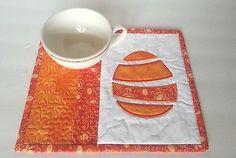 Appliqued Easter Egg - Mug Rug OR Snack Mat - Embroidered & Stipple Quilted