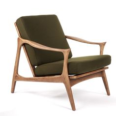 Incroyable Mid Century Modern Reproduction Model 711 Danish Lounge Chair   Green  Inspired By Fredrik Kayser