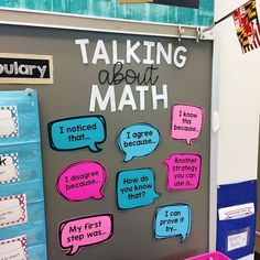 Math Talking Stems These math sentence stem posters are a great anchor chart alternative. Use them in your or even grade classroom as conversation starters to encourage thoughtful and collaborative math discussions during number talks! Math Discourse, Maths 3e, Primary Maths, 5th Grade Classroom, Future Classroom, Classroom Walls, Year 1 Classroom, Science Classroom, Classroom Jobs