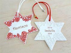 Personalised ornament. Custom made decoration. Personalised gift. Ceramic heart.
