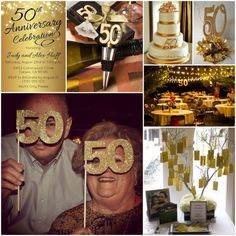 50th Gold Wedding Anniversary Inspiration and Party Favors Ideas from HotRef.com #50thanniversary #weddinganniversary #classreunion