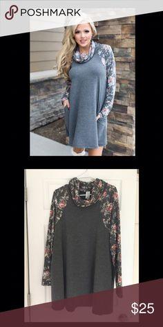 New! Floral sleeve cowl neck tunic. Medium. New! Floral sleeve cowl neck tunic. Medium. New without tags. Dresses