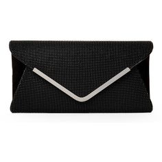 NATASHA Black Ball Mesh Envelope Clutch (110 BRL) ❤ liked on Polyvore featuring bags, handbags, clutches, purses, accessories, bolsas, black, handbag purse, mesh handbag and chain handle handbags