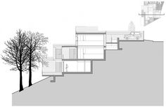 Hillside terraced idea.  DO Alella House is a project completed jointly by architects Massimo Mirtolini & Ignacio Salvans & Josep Borras. It is located in El Mas Coll, Spain, and covers an area of 4,843 square feet.               First Level  Second Level  Third Level  Section  Section  Section  Section  Photos courtesy of Massimo Mirtolini