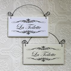 La Toilette French Bathroom Sign Decoupaged on Tile Paris Bathroom, French Bathroom, Master Bathroom, Bathroom Door Sign, Rustic Bathroom Decor, Bathroom Quotes, Bathroom Humor, Current Picture, French Words