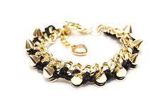 Gold Spike Bracelet by ThatsJustFauxPas on Etsy, $20.00