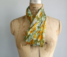 awesome 1960s circle scarf!! love this - fabulous goldenrod and olive colors on aqua - from luncheonettevintage on etsy!