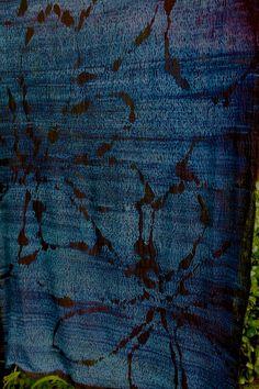 Mokume Magnolia Leaf Motif Shibori, stitched by Ogata san, dipped 12 times in the indigo vat at Japanese Textile Workshops