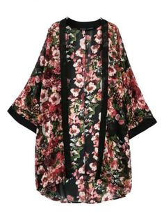 West Style Bustling Flower Printed Women Kimono Of Long Version