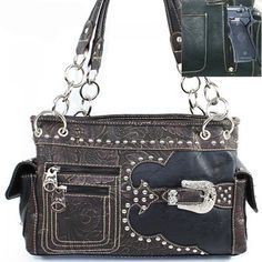 Concealed Carry Handbag CCW Purse Montana West-Tooled w/ Buckle Satchel - Black  $74.99 + Free Shipping! wantedwardrobe.com wantedwardrobe.net #CCW #handbags #fashion