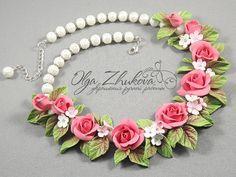 Necklace Tenderness di polymerFlowers su Etsy
