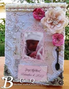 Learn #howto make this #altered #baby frame in the #fall issue of #BellaCrafts Quarterly. Bella Crafts is ALWAYS free to view online or download and contains oodles of awesome #crafts as well as articles to help support craft businesses. Click here to get your free issue http://bellacraftsquarterly.com/
