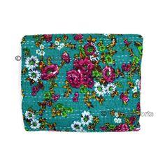 Queen Kantha Quilt Indian Bedding Handmade Bedspread Cotton Throw Bedcover X025 #Handmade #Kantha