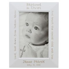Personalized white baptized in Christ photo frame - a great keepsake gift for godparents.