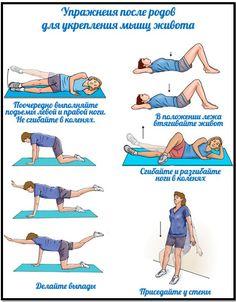 упражнения для избавления от живота после родов