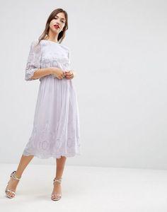 Unique Shop ASOS Premium Embroidered Midi Dress at ASOS