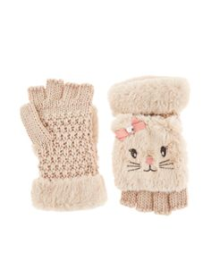 Extra Warm Fluffy Christina Cat Capped Mitten