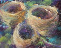 Original Pastel Painting Bird Nest Still by Karen Margulis