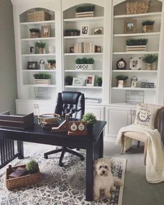 100 Charming Farmhouse Decor Ideas for Your Home Office - You have to see this #farmhouseoffice decor idea with beige reading armchair and grey flooring. Love it! #FarmhouseOfficeDecor #HomeDecorIdeas