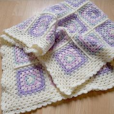 wholesale dealer 2b93d 245f4 Pink, purple, green and cream granny square crochet baby blanket. Handmade  with love