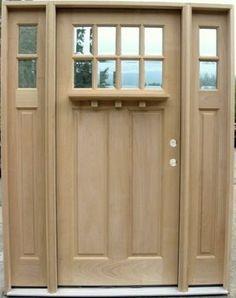 8 Lite Craftsman Style Door with 2-Lite Sidelights & Optional Dentil Shelf