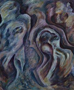 """Serie  """" La llegada """" , oleo , 1 x 1,20 m"""