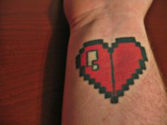 heart tattoo Leaf Tattoos, Pixel Art, Ink, Heart, Cover, India Ink, Blankets