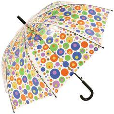 Multi Spots PVC Walking Length Clear Umbrella - Brolliesgalore