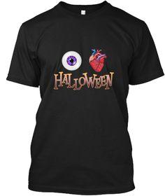 I Love Halloween Eye Heart Halloween Black T-Shirt Front