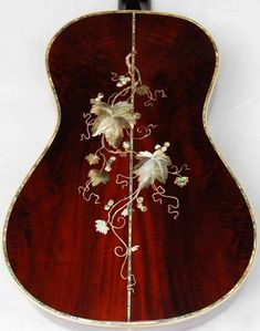 Vine and Leaf Guitar Inlay (Grapes, maybe) Acoustic Guitar Chords, Ukulele Art, Guitar Art, Music Guitar, Cool Guitar, Fender Acoustic, Guitar Painting, Gretsch, Guitar Inlay