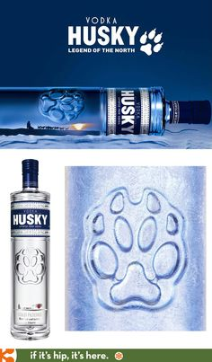 Husky Vodka, a cold-filtered Siberian vodka in an interesting bottle with a reliefed paw print. PD