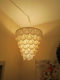 Lace Faux Chandelier Pendant Lamp Shade 'Ivory'