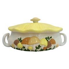 """A mushroom motif tureen with two handles. Marked """"Arnel's"""" on bottom. Plywood Furniture, Design Furniture, Mushroom Decor, Kitsch, Cottage In The Woods, Loft, Lounge, My Room, Decoration"""