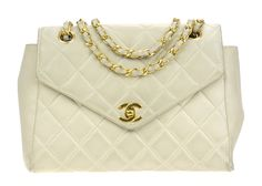 Chanel Vintage Beige Lambskin Envelope Flap Bag