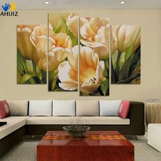 Fashion 4 Panel Wall Art oil painting tulip flower Paintings print Painting On Canvas decoration for living room pictures Art Floral, Mural Floral, Flower Mural, Flower Art, Flower Paintings, Painting Flowers, Tulip Painting, Flower Frame, Painting Abstract