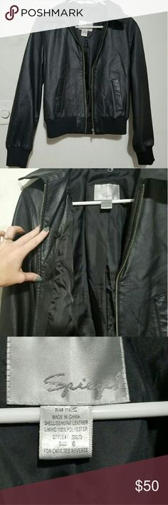 Cropped Leather Jacket This jacket is 100% Leather with polyester lining. Excellent condition! Spiegel Jackets & Coats