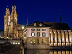 Grossmuenster - Zürich by Marco Hofmann on Zurich, Carolingian, Romanesque, Notre Dame, Switzerland, Construction, Mansions, House Styles, City