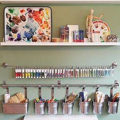 40 Art Room And Craft Room Organization Decor Ideas - artmyideas Art Studio Room, Art Studio Design, Art Studio At Home, Painting Studio, Art Studio Decor, Room Art, Art Rooms, Design Studios, Studio Ideas