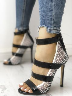 e674591c038 Multi-Strap Hollow out Thin Heeled Sandals  42.13 Heeled Sandals