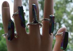 Wire Wrapped Rainbow Titanium Quartz Ring Crystal Point Druzy Chakra Gypsy Boho Silver by crystalelements1 on Etsy https://www.etsy.com/listing/233905323/wire-wrapped-rainbow-titanium-quartz