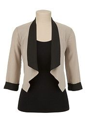 Beige and Black Open Front Blazer - maurices.com